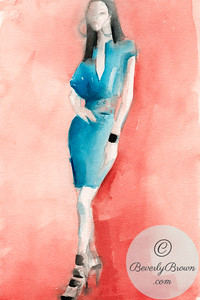 Woman in a Turquoise Dress  - Beverly Brown Artist