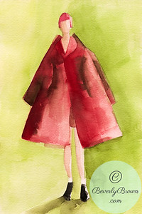 Woman in an A-line red coat  - Beverly Brown Artist