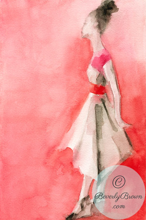 A loose, dreamy watercolor of a woman wearing a white and pink dress with a bright red belt, on a red background.