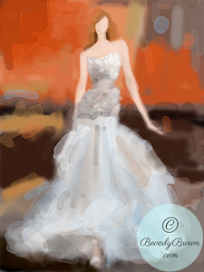 Woman in Beige and White Evening Gown  - Beverly Brown Artist