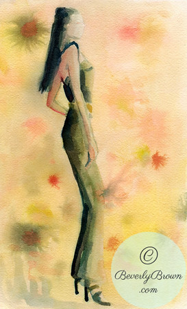 An ethereal watercolor fashion painting of a woman in a green jumpsuit with a mottled background in shades of green, yellow, orange and pink.