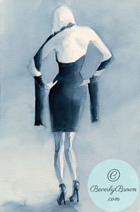 Back of a woman in a dark blue cocktail dress.