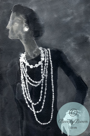 A digitally altered watercolor illustration of the 20th century fashion icon, Coco Chanel.