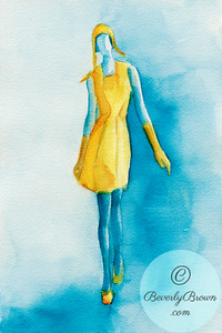 Woman in Yellow Dress, Gloves, Shoes and Cap  - Beverly Brown Artist