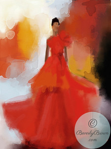 Woman in Red Evening Gown  - Beverly Brown Artist