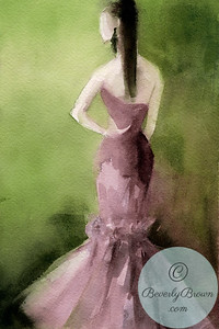 Woman in Mauve Evening Gown  - Beverly Brown Artist