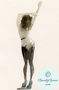 Woman in Black and White Striped Leotard  - Beverly Brown Artist