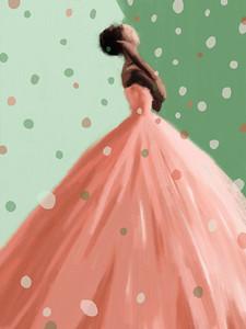 Peach Dress Fashion Illustration - Beverly Brown Artist