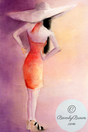 Watercolor illustration of a woman wearing an orange sun dress and wide brimmed hat.