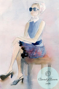 Seated woman wearing sunglasses and a plaid skirt.  - Beverly Brown Artist