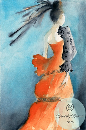 A watercolor fashion illustration of a woman wearing an orange evenging dress with a black lace sleeve and a black feather hair ornament.