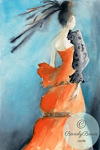 Woman in an Orange and Black Evening Gown