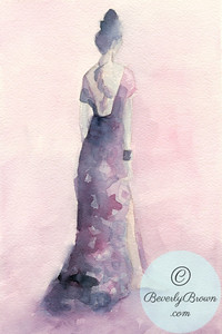 Woman in a Pink and Purple Gown