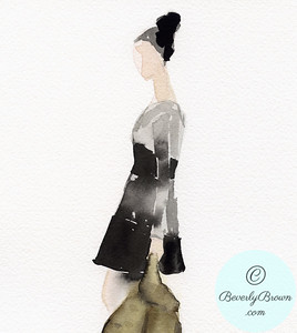 Woman in Black and Grey Vintage Dress - Beverly Brown Artist