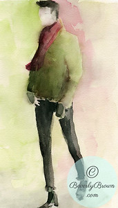 Man in black pants and a green sweater  - Beverly Brown Artist