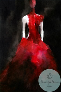 Alexander McQueen Red Feathered Gown  - Beverly Brown Artist