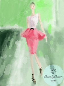 Woman in Pink Peplum Skirt