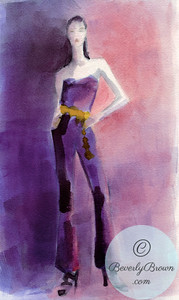 Woman wearing a purple jumpsuit  - Beverly Brown Artist