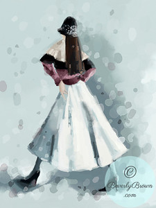Woman in the Snow Wearing a  Cloche Hat  - Beverly Brown Artist