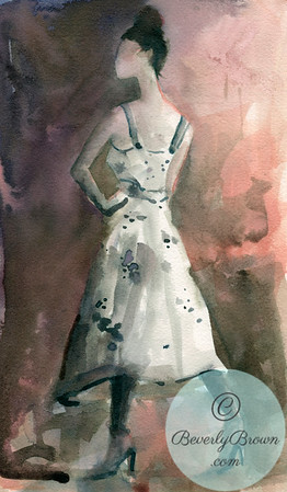 A fresh, ethereal, watercolor fashion illustration of a woman in a white dress with black polka dots.