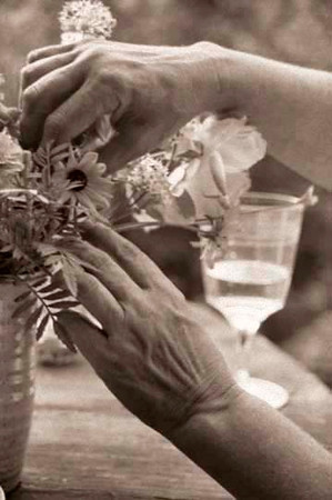 Arranging flowers.
