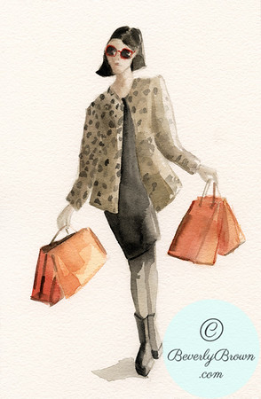 Woman Shopping in Leopard Print Jacket - Beverly Brown Artist