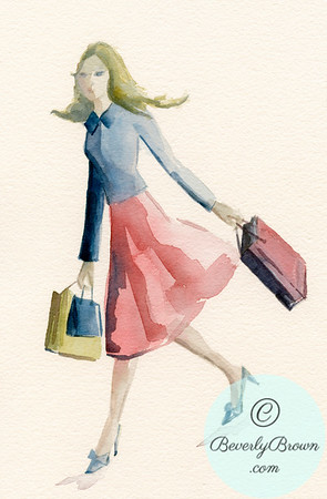 Woman Shopping in Pink Skirt and Blue Jacket - Beverly Brown Artist