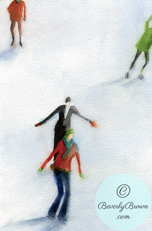 People ice skating outdoors. - Beverly Brown Artist