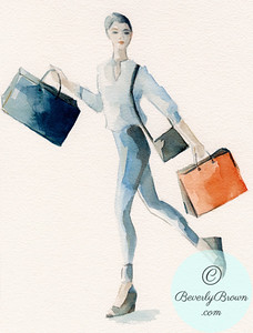 Woman Shopping - Skinny Jeans & White Shirt - Beverly Brown Artist