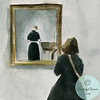 A watercolor illustration of a woman gazing at a painting by Vilhelm Hammershoi. Copyright Beverly Brown.
