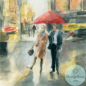 Couple Red Umbrella New York City - Beverly Brown Artist