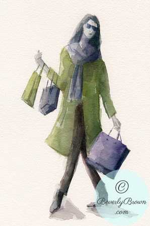Woman Shopping - Green Coat - Beverly Brown Artist