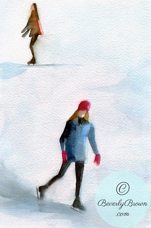 Two young women ice skating outdoors. - Beverly Brown Artist