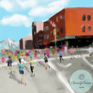 Runners in the NYC Marathon - Beverly Brown Artist