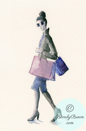 Watercolor Fashion Illustration of a Woman Shopping - Black Leather Jacket & Sunglasses - Beverly Brown Artist