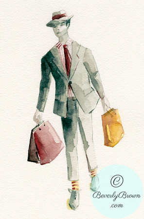 Illustration of a Man Shopping - Beverly Brown Artist