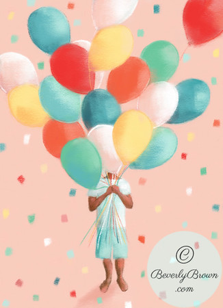 Birthday Balloons African American Child - Beverly Brown Artist