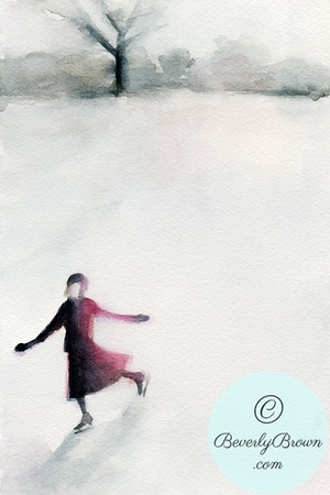 Vintage inspired watercolor illustration of a young woman ice skating, wearing a beret and long coat.