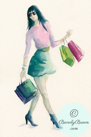 Watercolor Fashion Illustration of a Woman Shopping - Pink & Green - Beverly Brown Artist