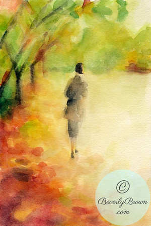 Woman walking in fall leaves. - Beverly Brown Artist