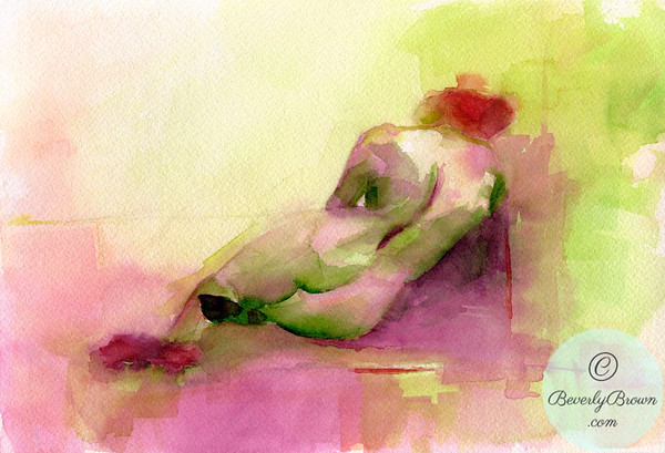 This colorful abstract reclining woman art print is painted in shades of bright pink, orange and chartreuse. Canvas, metal & framed prints for sale in multiple sizes. www.beverlybrown.com