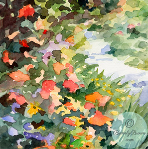 Footpath with flowers - Giverny  - Beverly Brown Artist