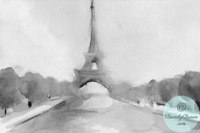 Eiffel Tower Black and White  - Beverly Brown Artist