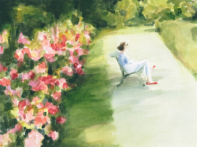 Woman on a Bench in the Parc de Bagatelle Paris - Beverly Brown Artist