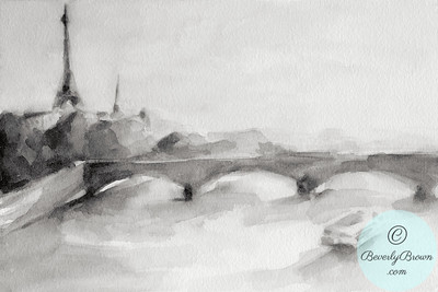 River Seine & Eiffel Tower - Black and White  - Beverly Brown Artist