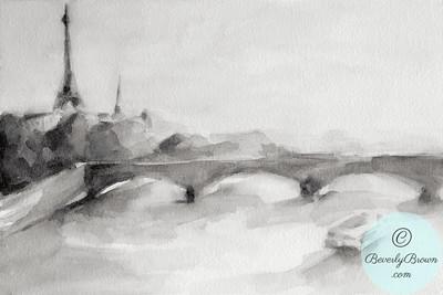 River Seine & Eiffel Tower - Black and White  - Beverly Brown Artist