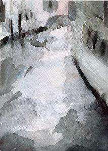 Venetian Canal  Black and White  - Beverly Brown Artist