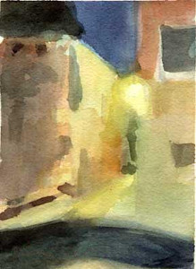 Calle at Night - Venice, Italy.  - Beverly Brown Artist