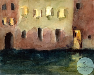 Venice Windows at Night  - Beverly Brown Artist