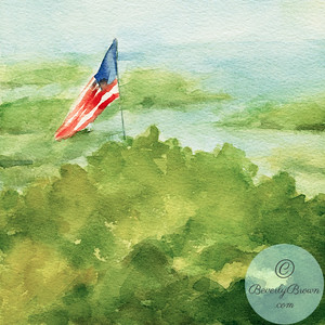 Flag in the Dunes - Cape Cod  - Beverly Brown Artist
